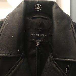 Lucky Brand Pin Dot Black Moto Leather Jacket S
